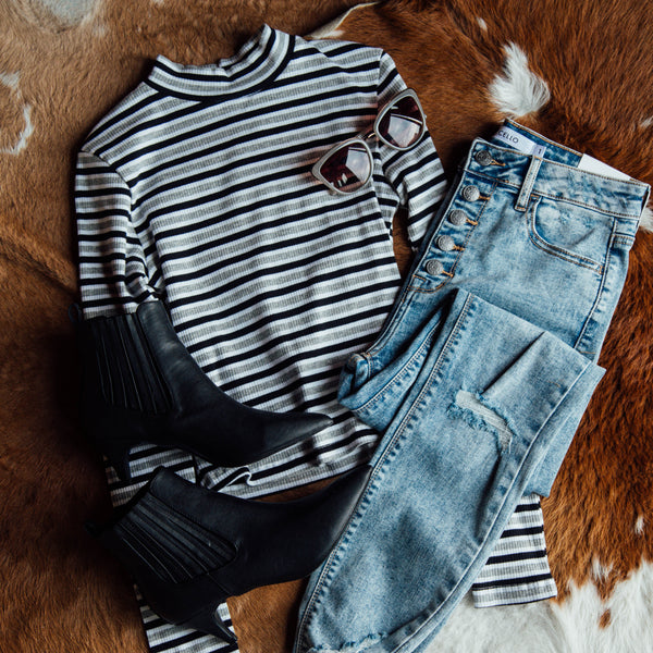 Striped Crop Top, Grey/Black
