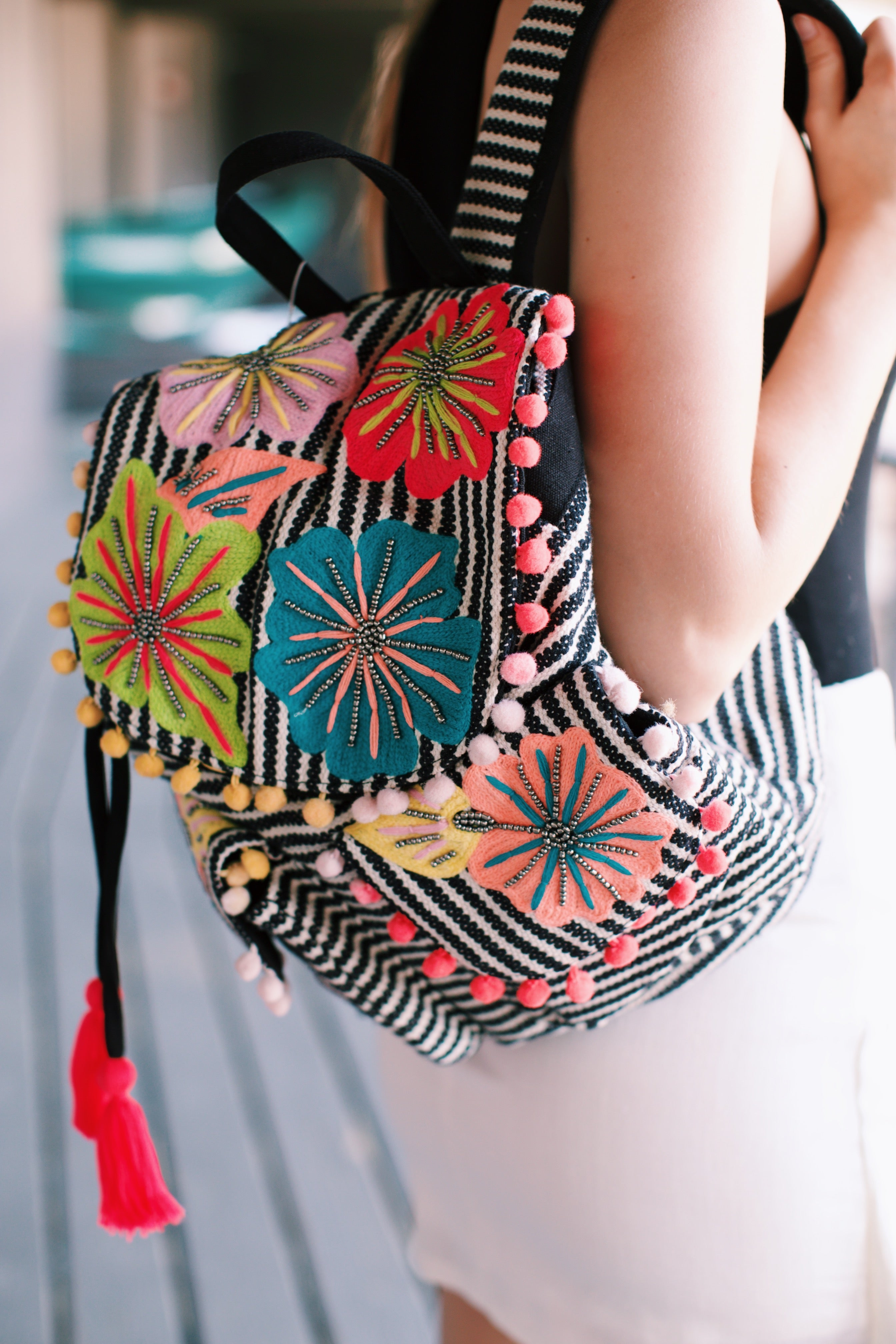 Festive Floral & Striped Backpack, Black/Cream | Backpacks