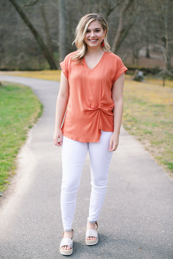 With a Twist Knot Top, Burnt Orange | Women's Summer Tops