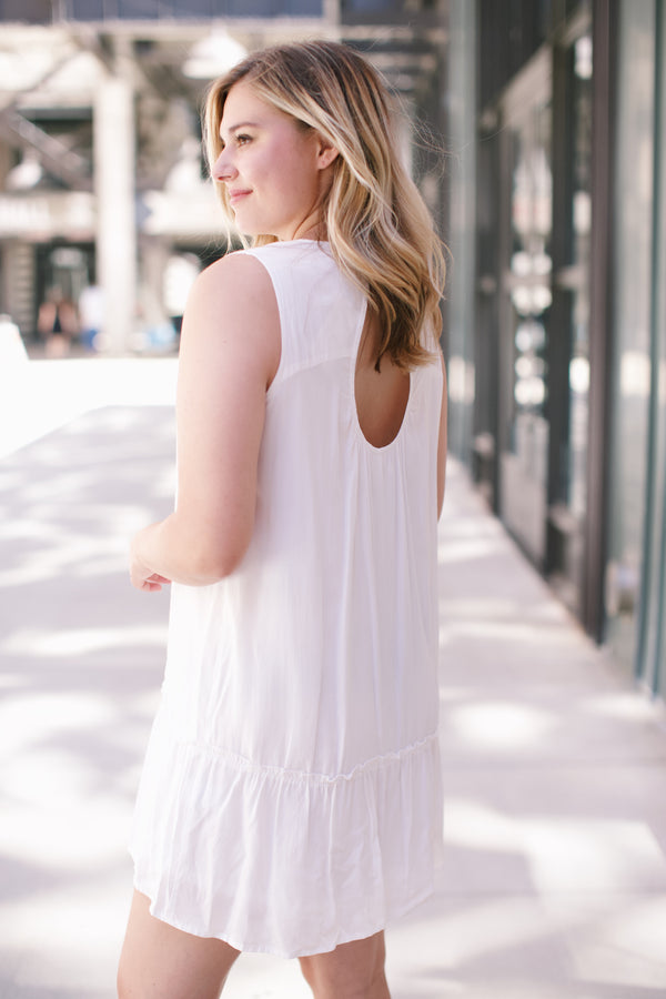 Sleeveless Ruffle Hem Dress, Off White | Summer Dresses