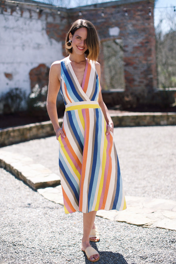 Imogene Striped Midi Dress, Multi Stripe