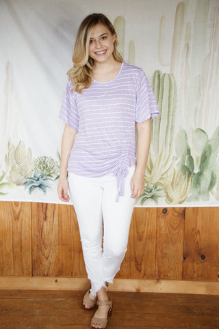 Lavender Drawstring Front Top, Lavender | Democracy | Women's Vacation Tops