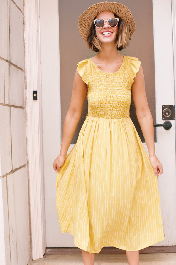 Smocked Striped Midi Dress, Mustard