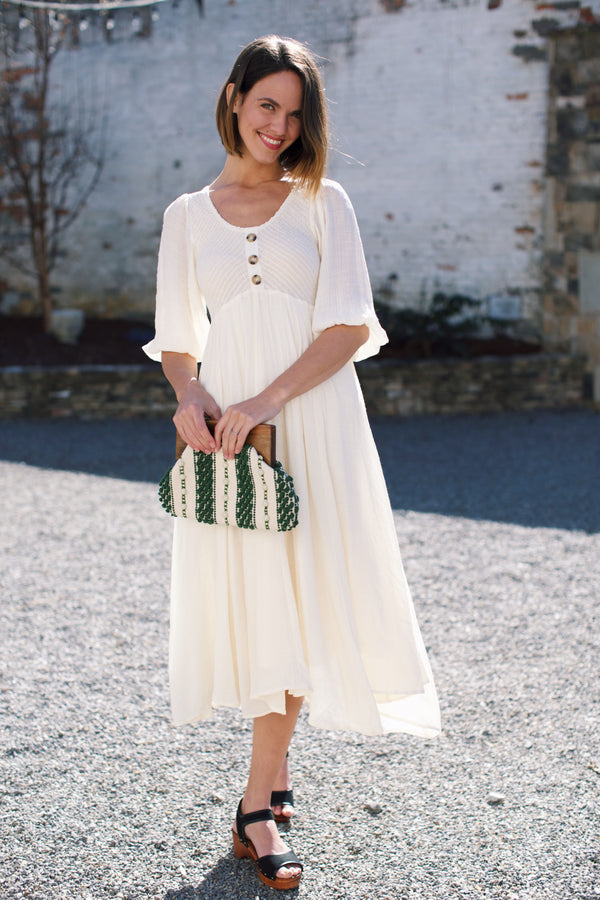 Feeling Free Smocked Maxi Dress, Ivory