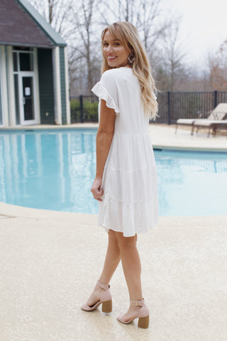 Morning Tea Tiered Dress, Off White