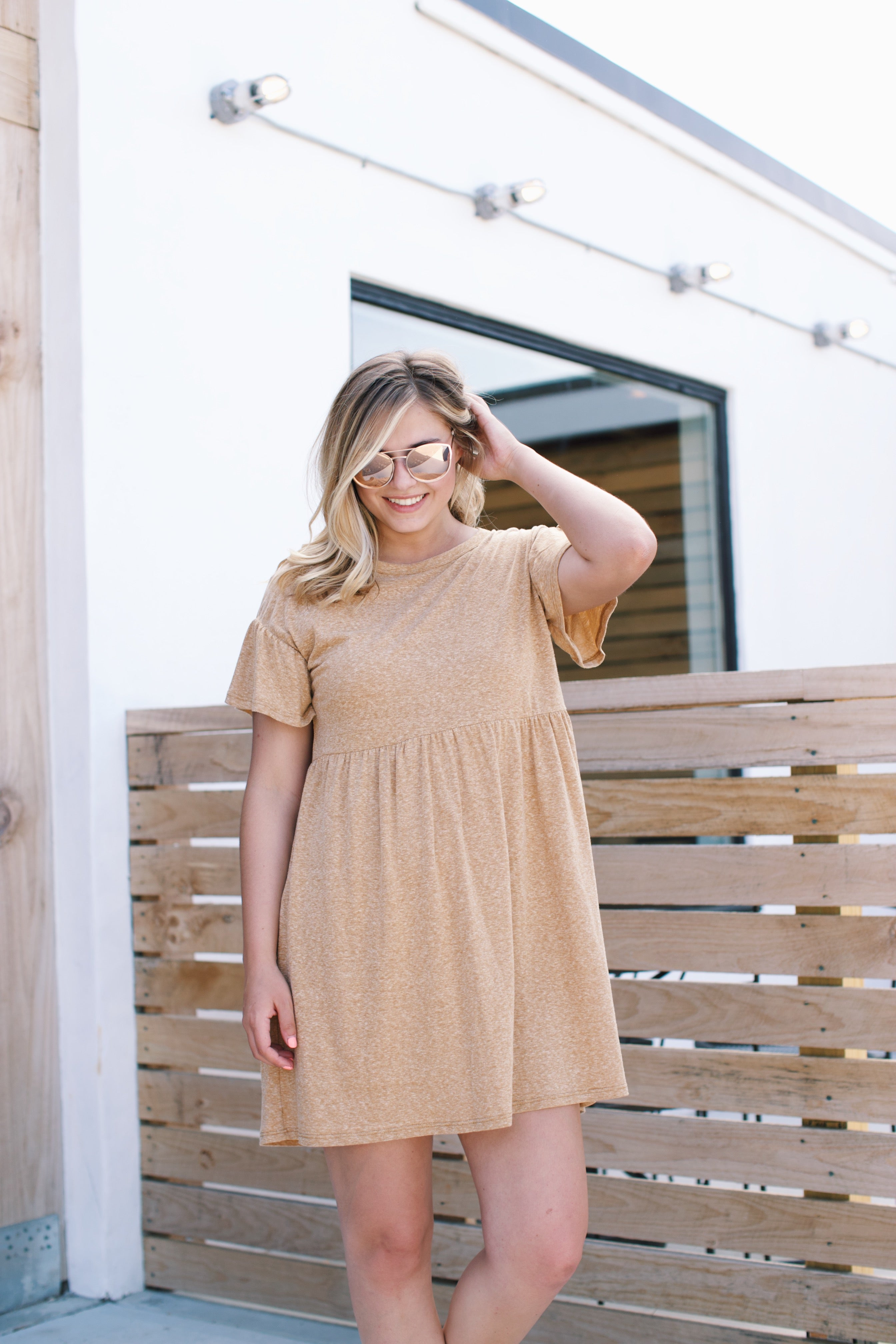 Babydoll T-Shirt Dress, Dark Mustard