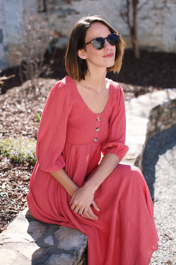 Feeling Free Smocked Maxi Dress, Dusty Rose