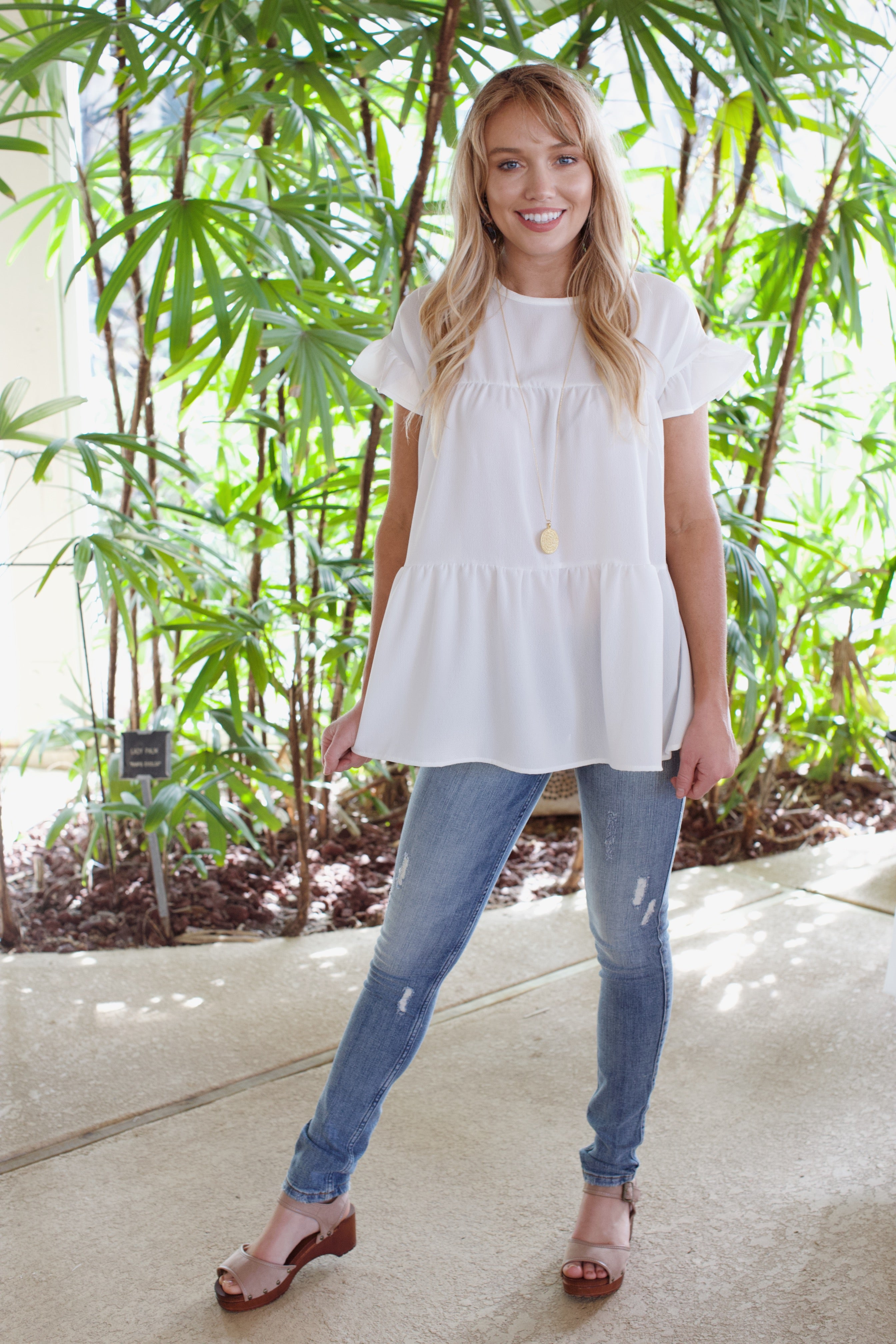 Tiered Babydoll Top, Ivory