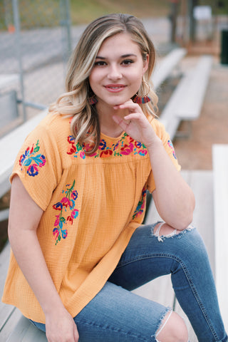 Polka Dot V-Neck Blouse, Mustard
