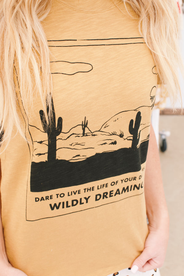 Wildly Dreaming Graphic Tee Shirt, Mustard