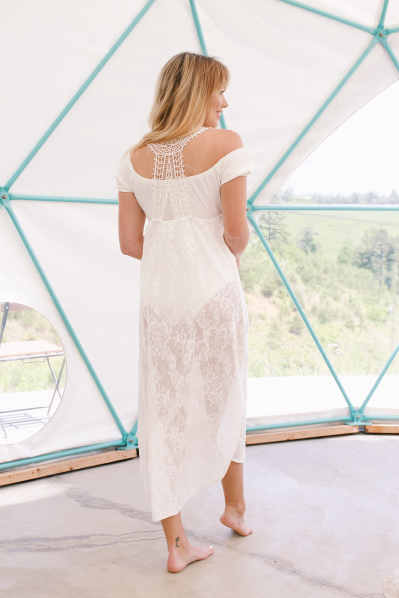 Cotton Lace Cover Up Dress, Off White