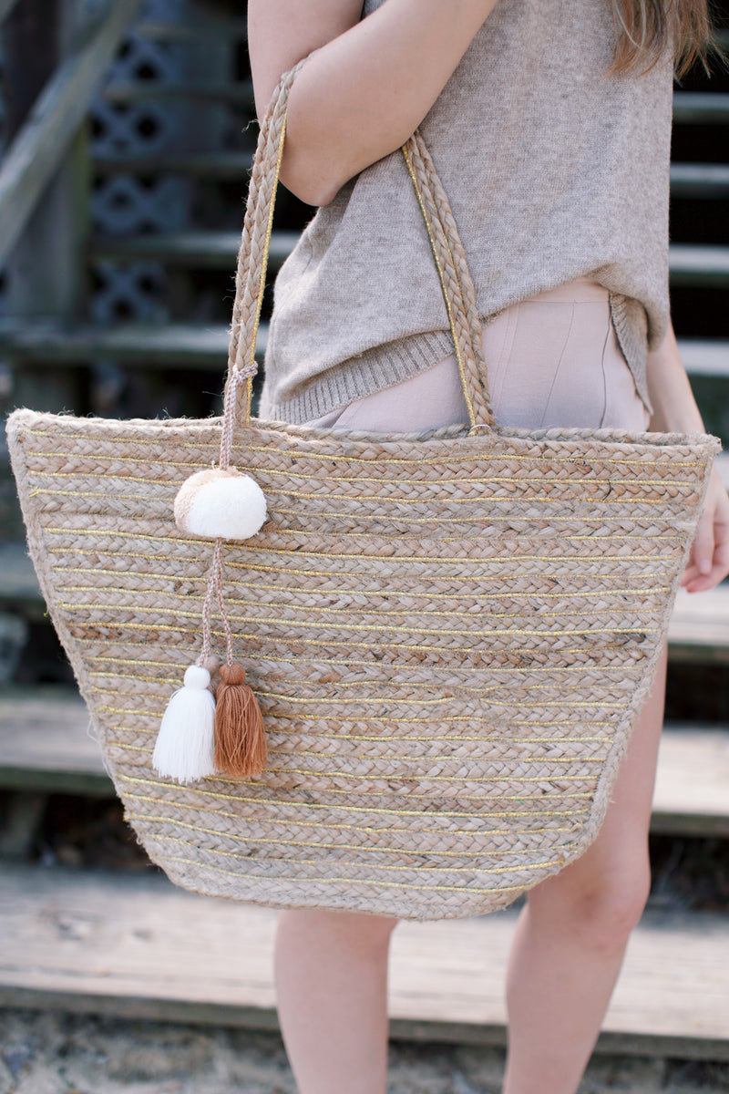 Enshrine Handwoven Jute Tote Bag, Natural | Beach & Vacation Bags