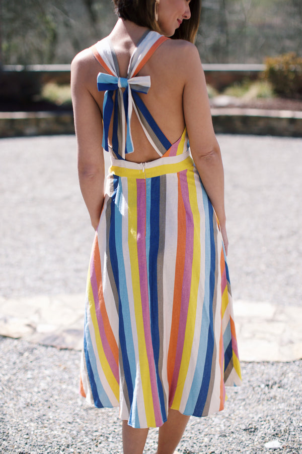 Imogene Striped Midi Dress, Multi Stripe | Juniors Clothing