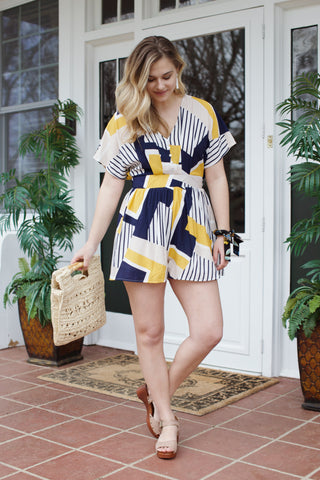 A Walk In The Park Romper, Lemon Multi