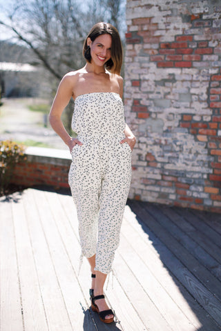 Cheetah Strapless Jumpsuit, Off White