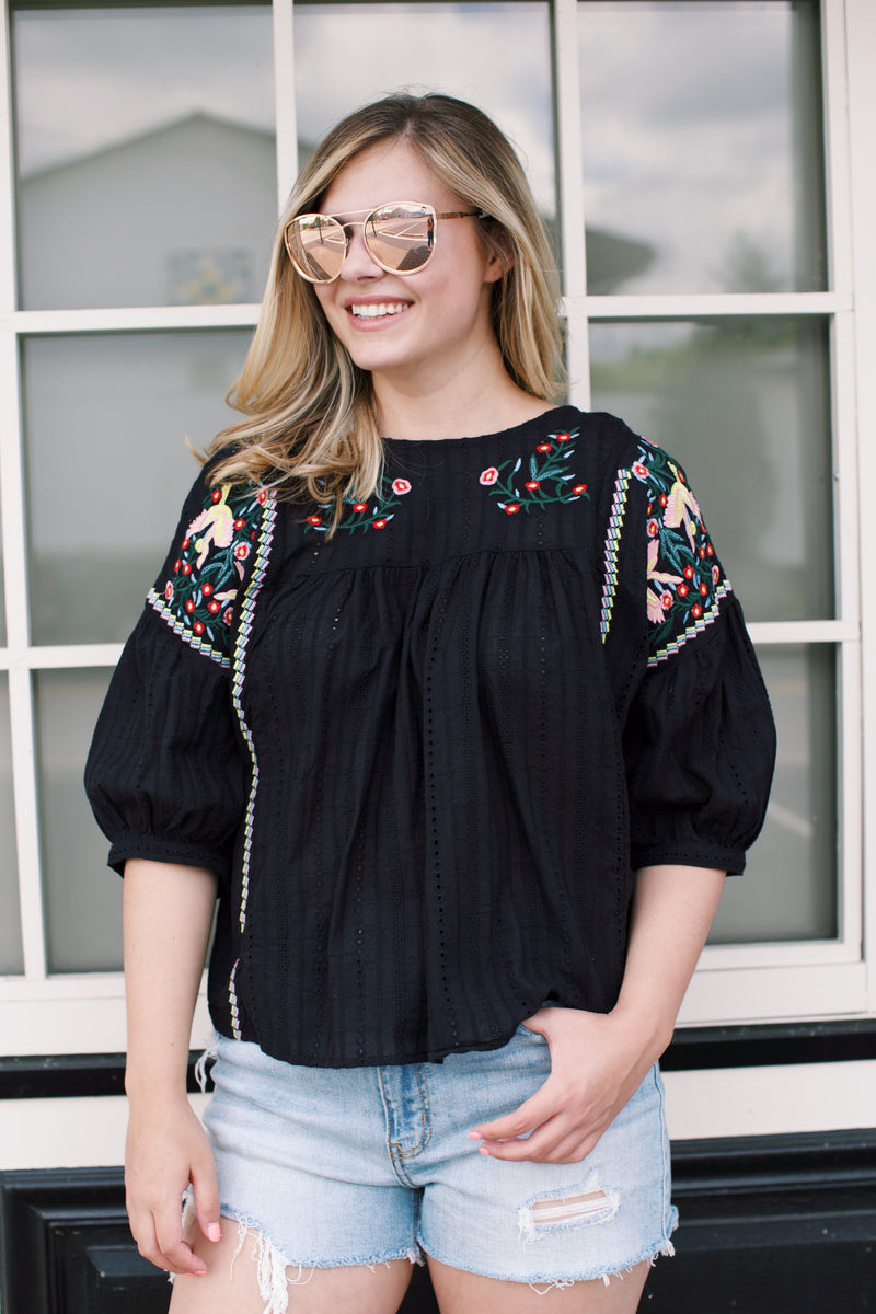 Cabo Embroidered Cotton Top, Black