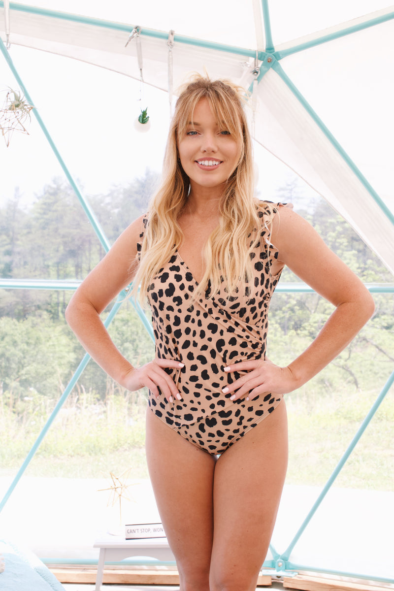 Front Wrap One Piece Swimsuit, Leopard