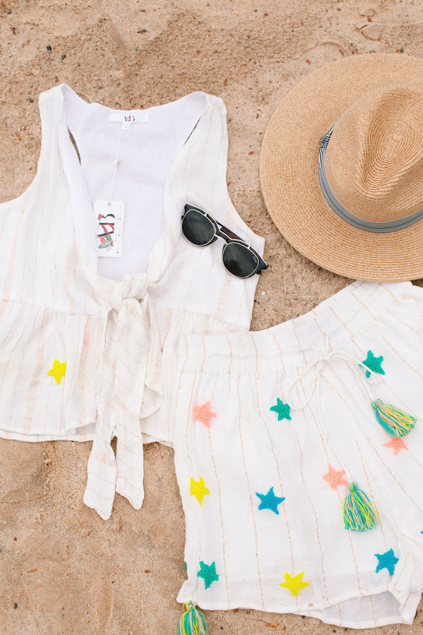 Starfish Beach Crop Top, Cream