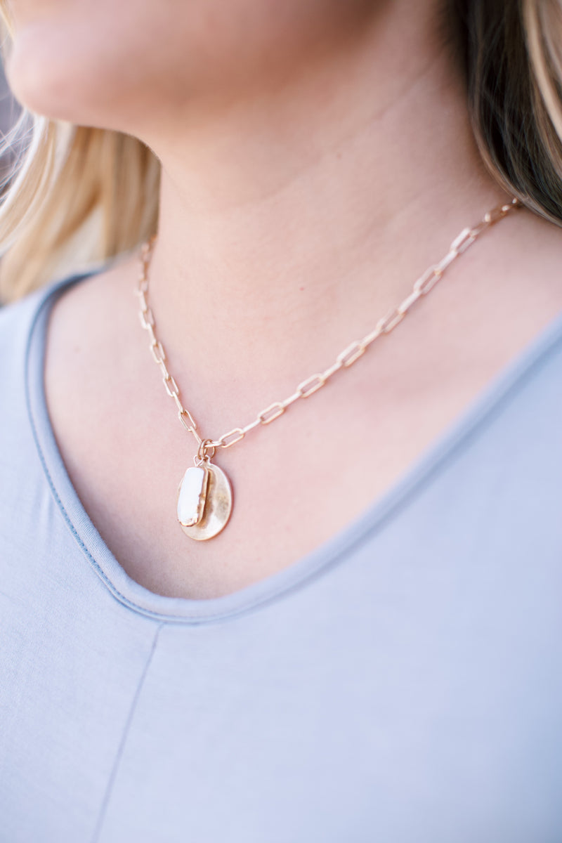 Coin & Pearl Necklace, Gold