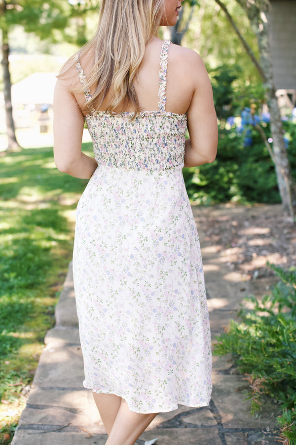 Summer Honey + Tea Smock Dress, Cream Floral