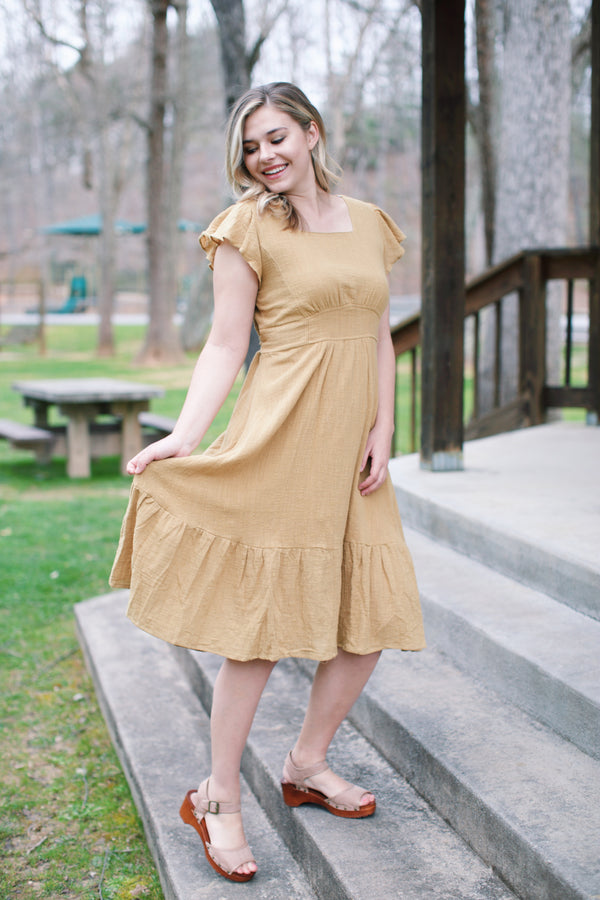 Laurie Ruffle Midi Dress, Golden Kiwi | Women's Spring Dresses