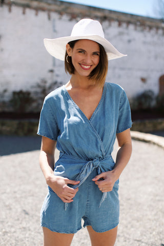 Wrap Front Denim Romper, Denim