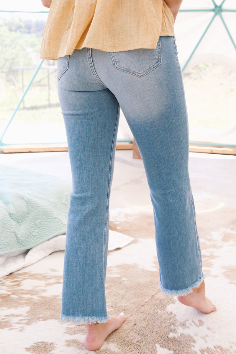 High Rise Button Fly Cropped Flare Jean, Light Denim