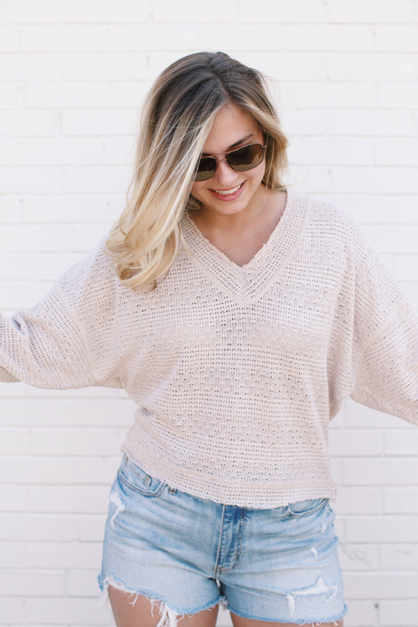 Textured Crop Sweater, Taupe