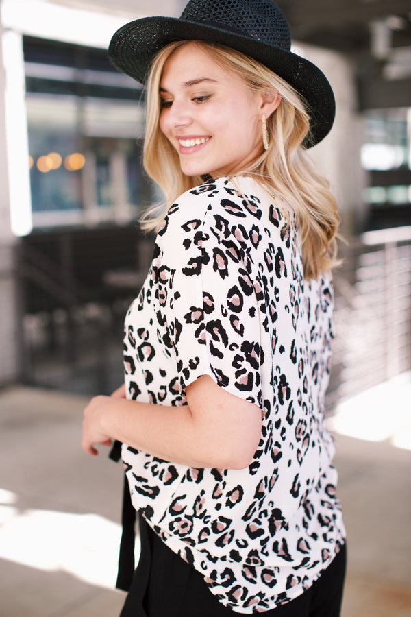 Leopard Blouse, Ivory Mix