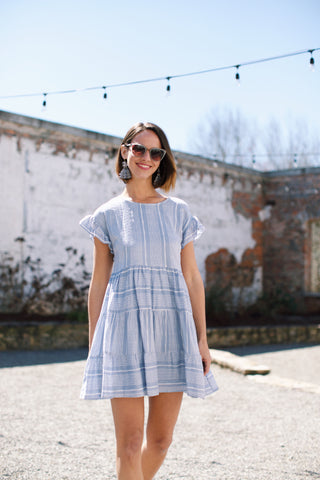 Spring Fever Printed Dress, Periwinkle