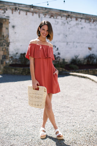 Off The Shoulder Ruffle Dress, Rust