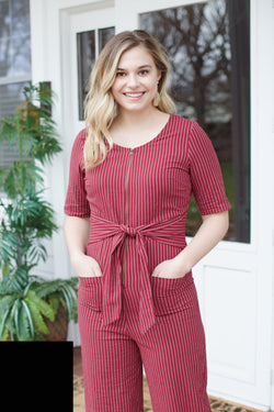 Wide Open Spaces Striped Jumpsuit, Burgundy