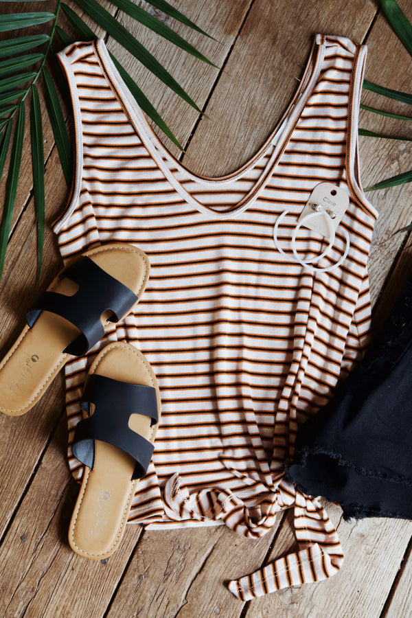 Aubrey Striped Tank, Rust Multi