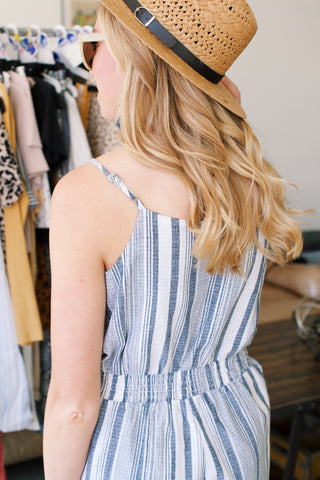 On A Romp Striped Romper, Navy | Summer Jumpsuits