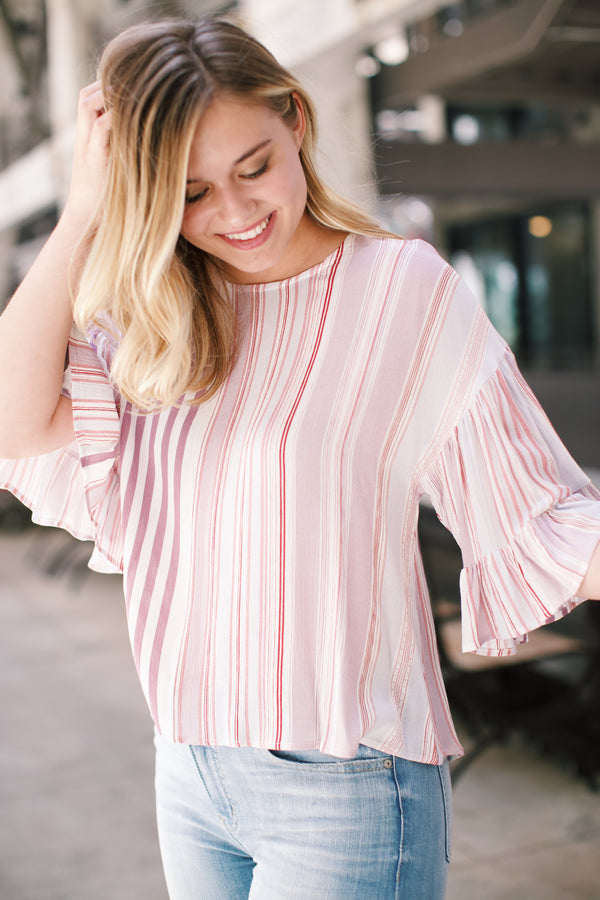 Sunset Striped Blouse, Lavender