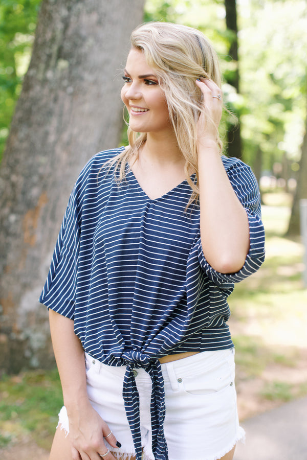 Carrie Striped Top, Navy | Juniors Apparel
