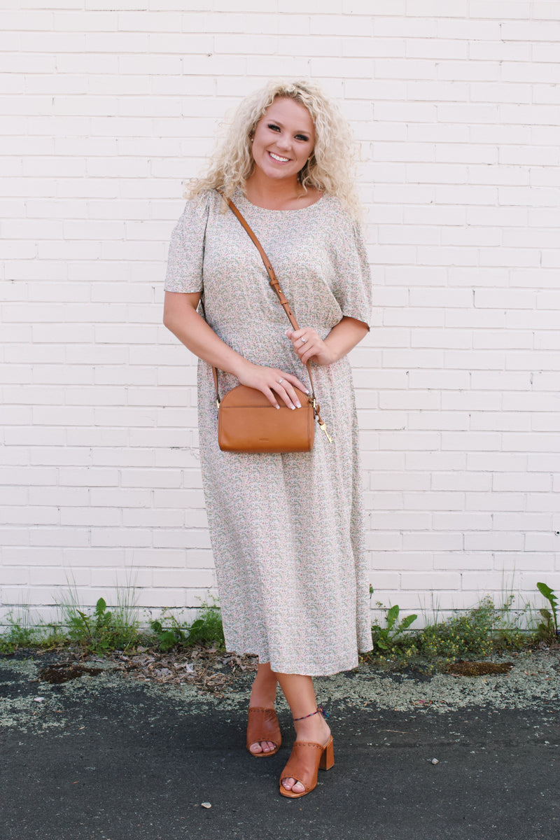 Maggie Smocked Maxi Dress, Tan Floral  | Plus Size