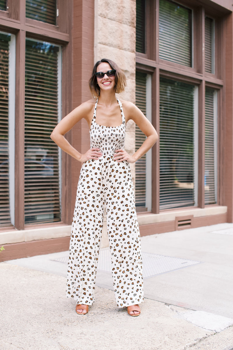Safari Leopard Halter Jumpsuit, Cream Multi