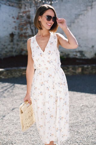 Floral Linen Halter Dress, Yellow/Ivory
