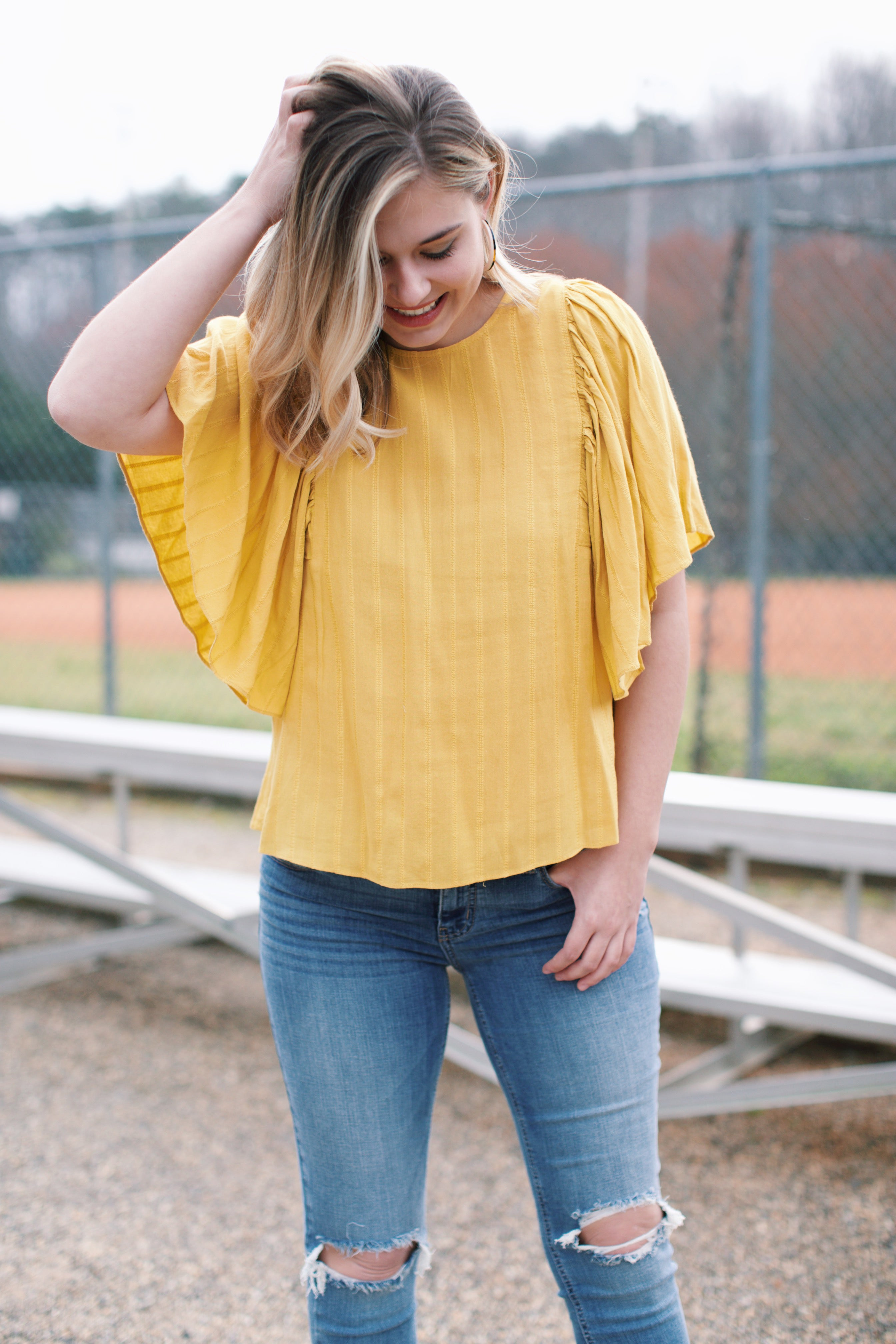 Winging It Wide Sleeve Top, Mustard | Women's Vacation Tops