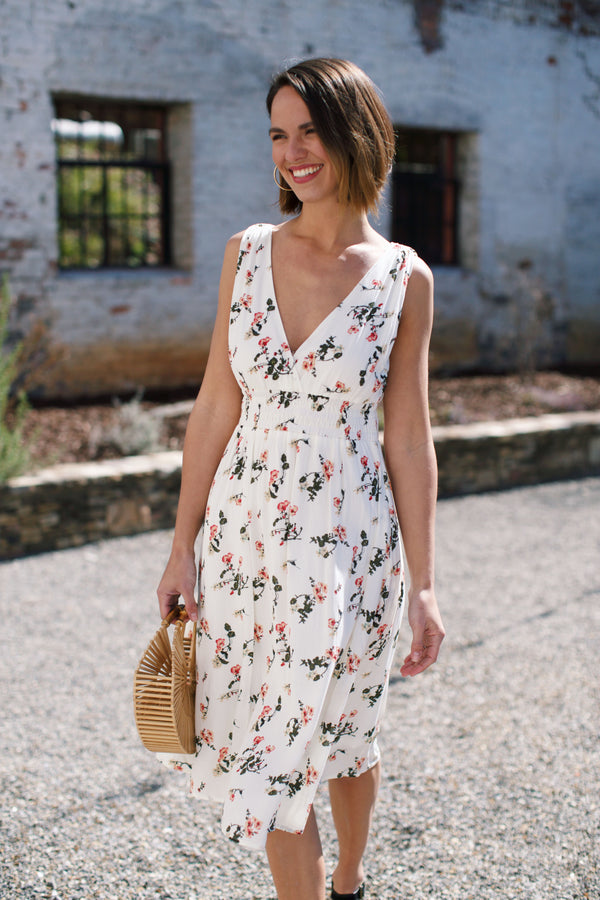 Grace V-Neck Midi Dress, Ivory Floral