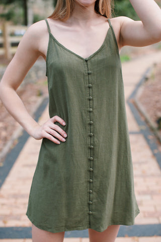 Eliza Button Down Dress, Olive