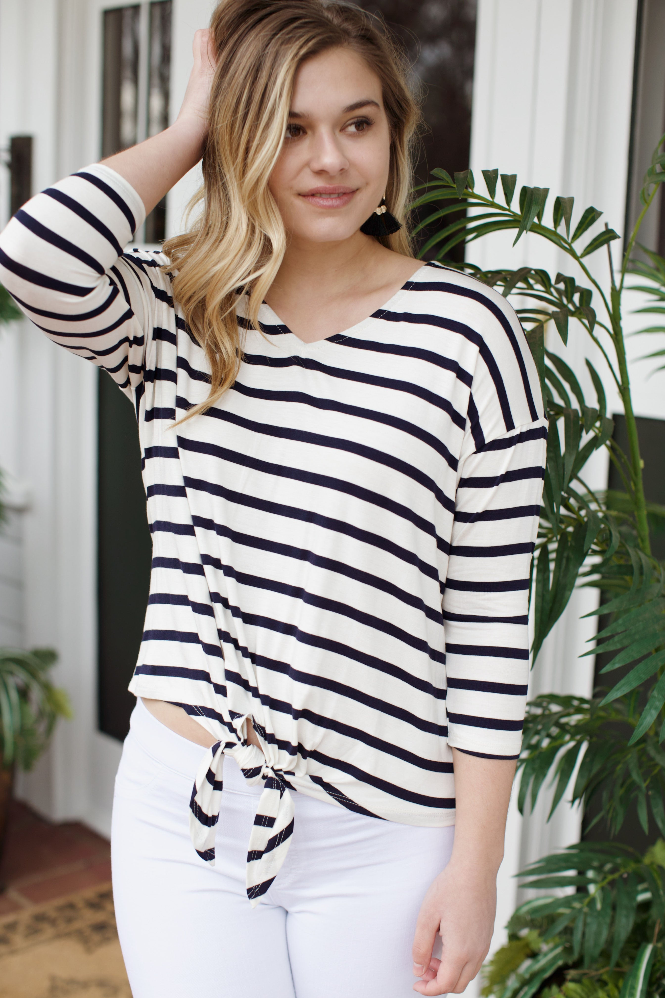 Pam's Striped Top, Navy/Ivory