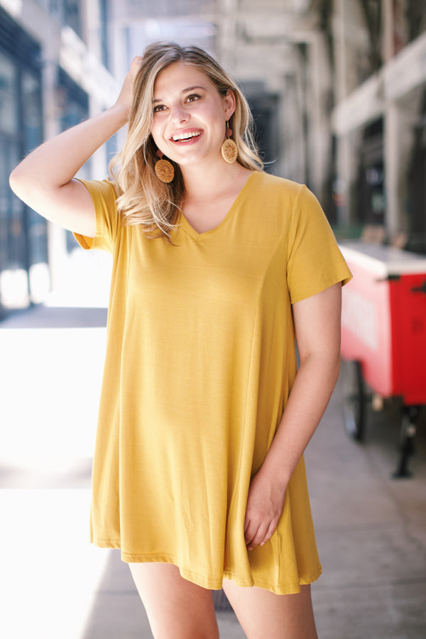 Thursday T-Shirt Dress, Golden Kiwi