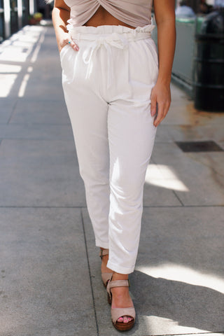 Claudia Paper Bag Waist Tie Pant, White | Summer Fashion Wear