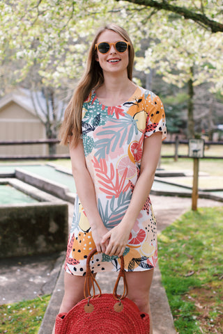 Spring Citrus Tee Dress, Yellow Multi | Easter Dresses