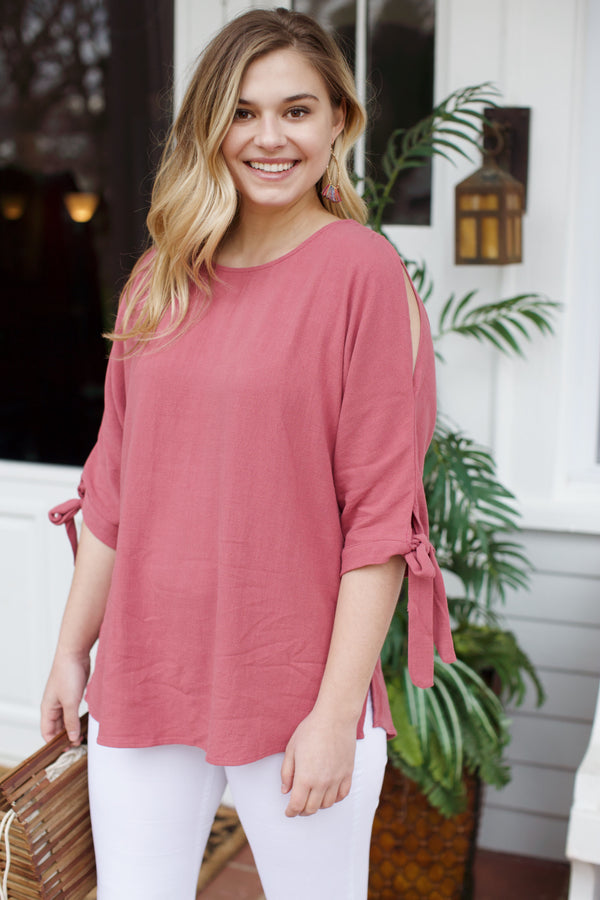 Cold Shoulder Linen Top, Mauve