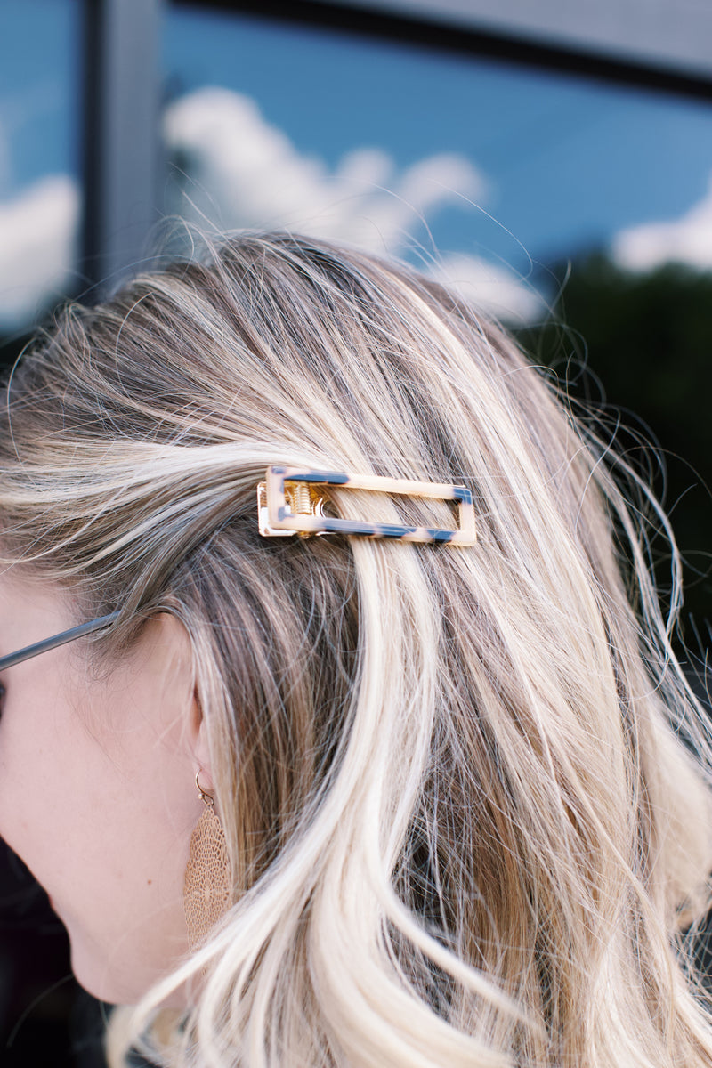Rectangle Hair Clip, Beige Tortoise