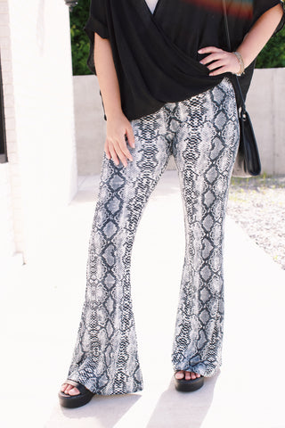 Striped Wide Leg Pant, White/Charcoal