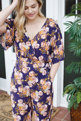 Floral Wide Leg Jumpsuit, Navy